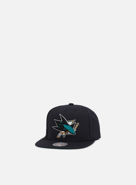 cappellini mitchell e ness solid team snapback san jose sharks black