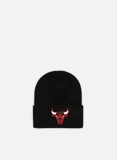 cappellini mitchell e ness team logo cuff knit beanie chicago bulls black
