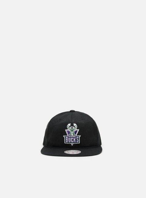 Outlet e Saldi Cappellini Snapback Mitchell & Ness Team Logo Deadstock Throwback Snapback Milwaukee Bucks