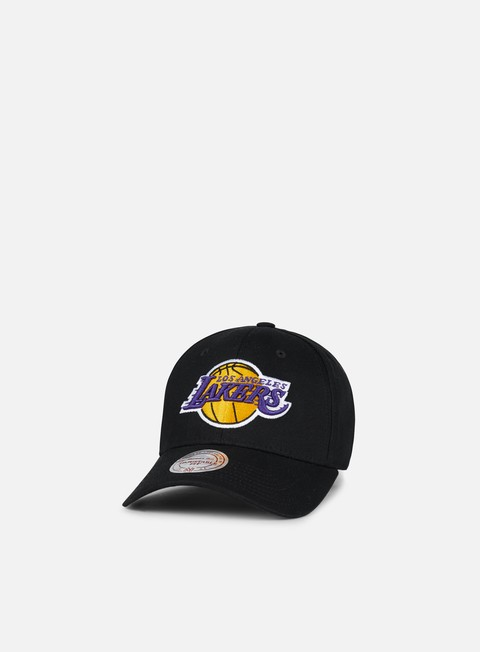 Curved Brim Caps Mitchell & Ness Team Logo Low Pro Strapback LA Lakers