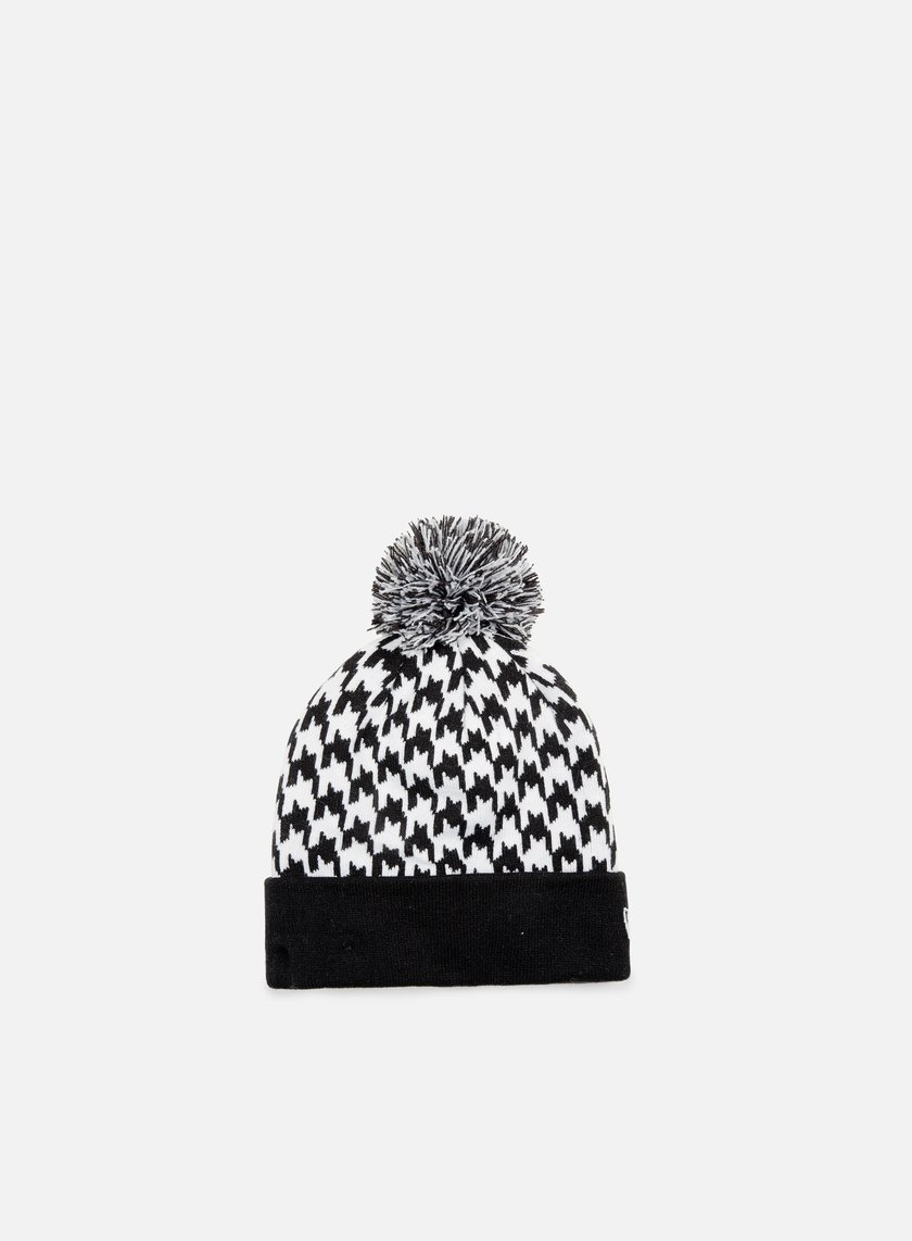 New Era - Houndstooth Bobble Beanie, Black/White