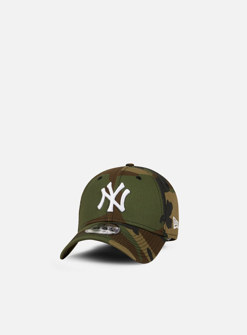 New Era - League Essential 9Forty Strapback NY Yankees, Woodland Camo/White