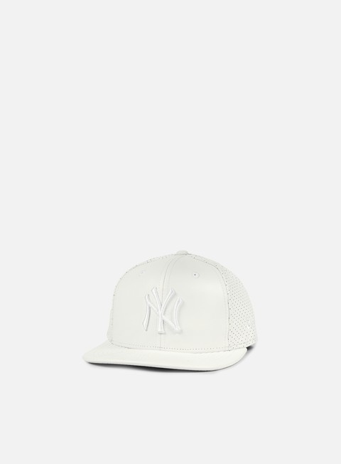 cappellini new era leather perforated snapback ny yankees white white