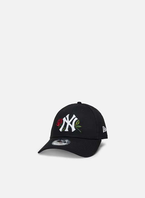 Curved Brim Caps New Era Mens Twine MLB 9Forty Strapback NY Yankees