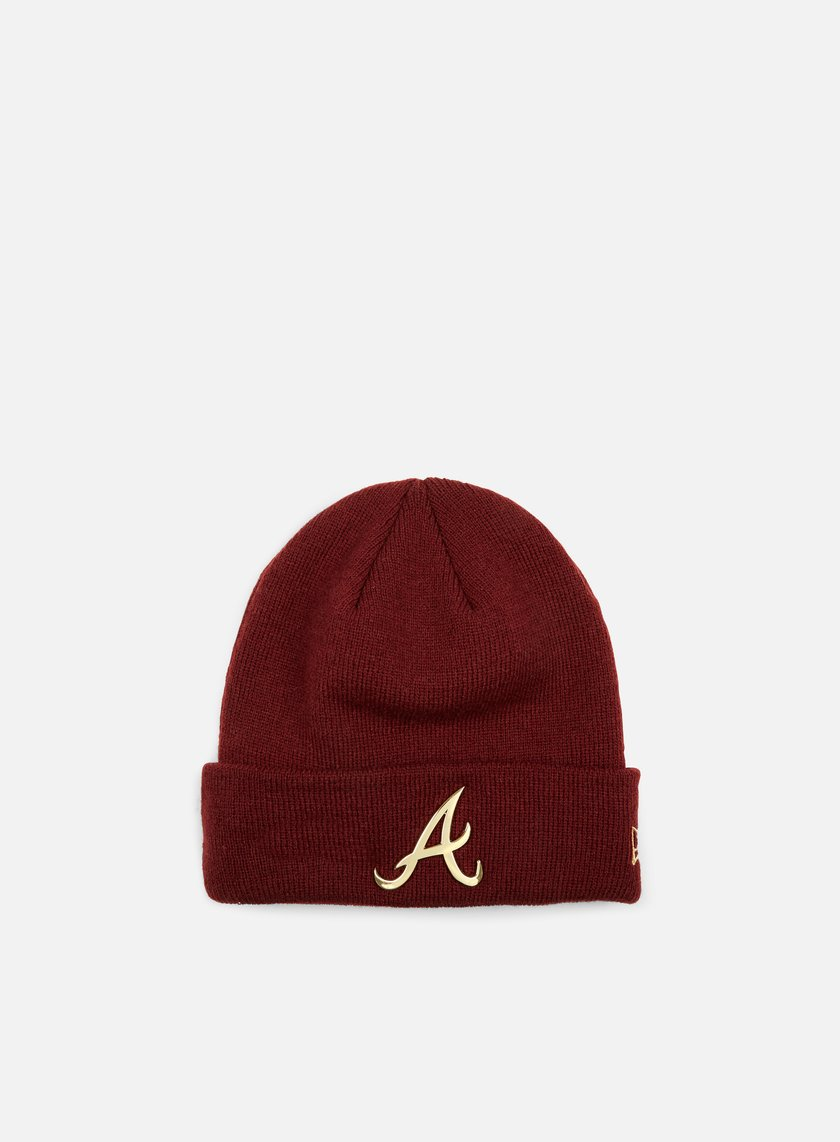 New Era - Metal Cuff Beanie Atalanta Braves, Maroon/Gold