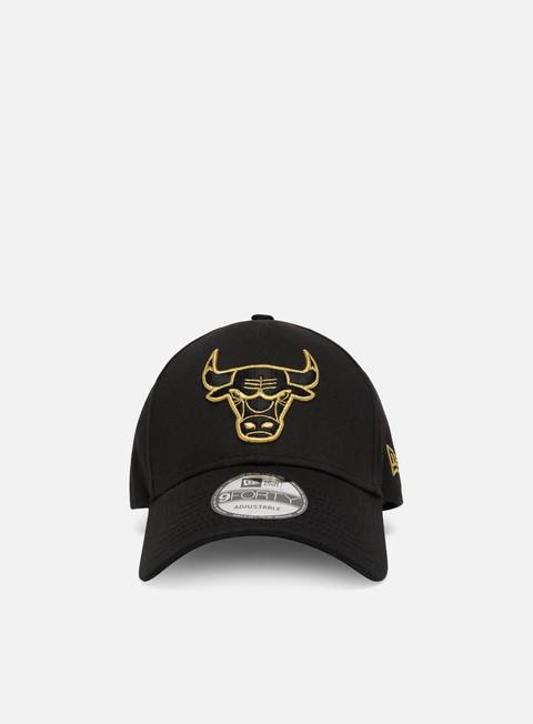 Curved Brim Caps New Era Metallic Logo 9Forty Strapback Chicago Bulls