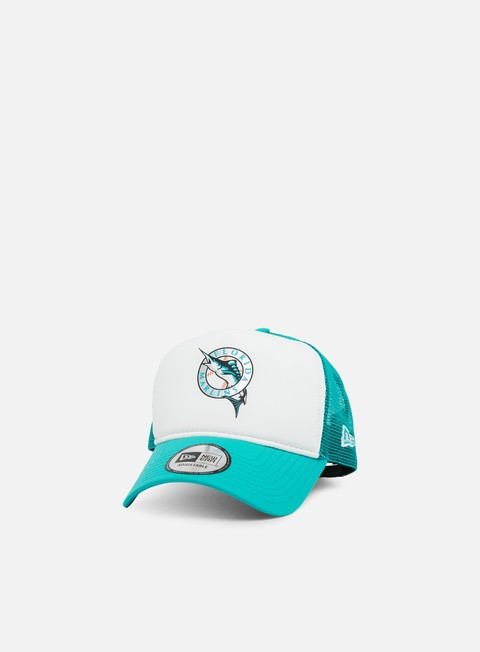 cappellini new era mlb coast 2 coast trucker florida marlins teal white