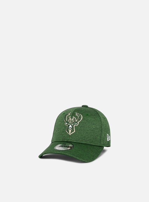 Curved Brim Caps New Era Shadow Tech 9Forty Strapback Milwaukee Bucks