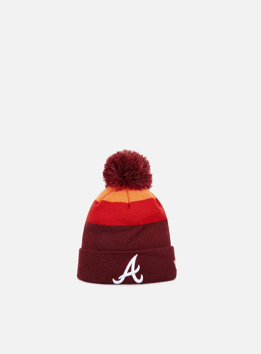 New Era - Striped Tone Beanie Atalanta Braves, Maroon/Scarlet/Orange