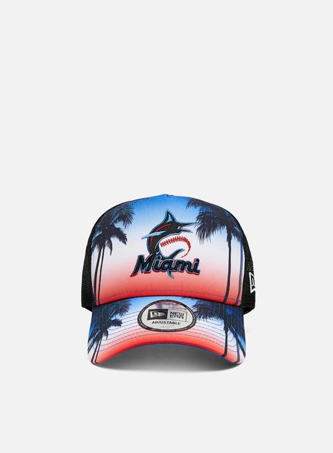 Outlet e Saldi Cappellini con visiera New Era Summer City Trucker Miami Marlins