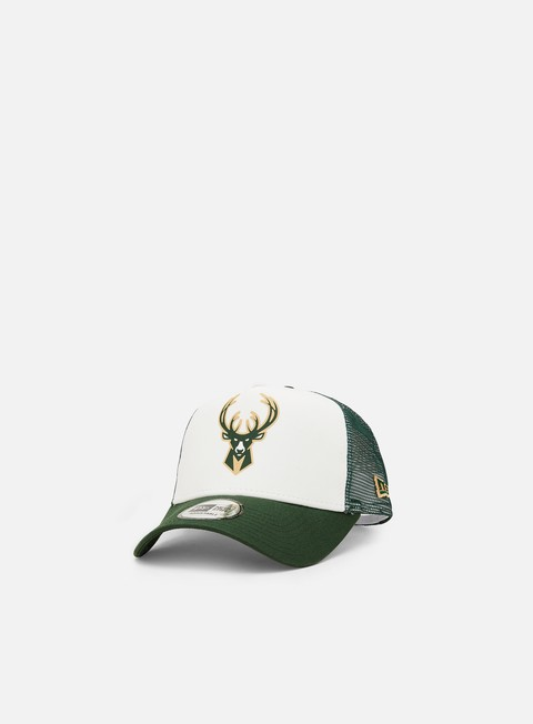 Curved Brim Caps New Era Team Colour Block Trucker Milwaukee Bucks