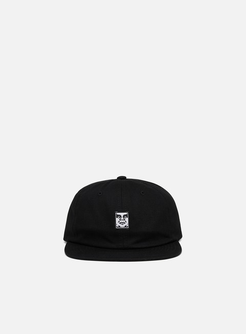 Curved Brim Caps Obey Icon Face 6 Panel Strapback Hat