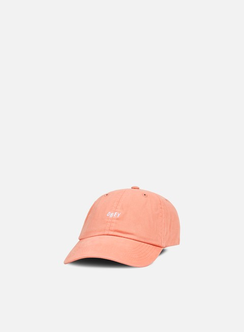 cappellini obey jumble bar 6 panel hat dusty rose grey