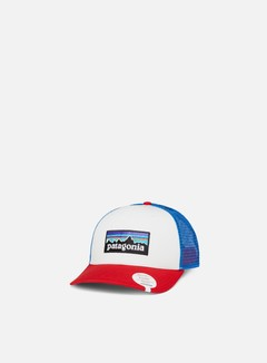 Patagonia - P-6 Logo Trucker Hat, White/Fire/Andes Blue