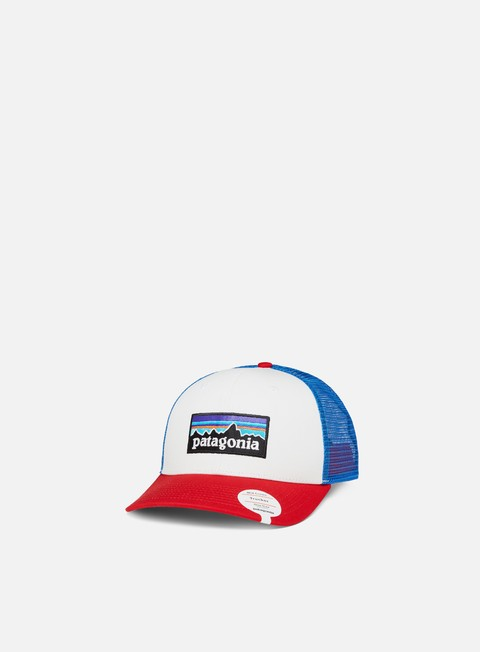 cappellini patagonia p 6 logo trucker hat white fire andes blue