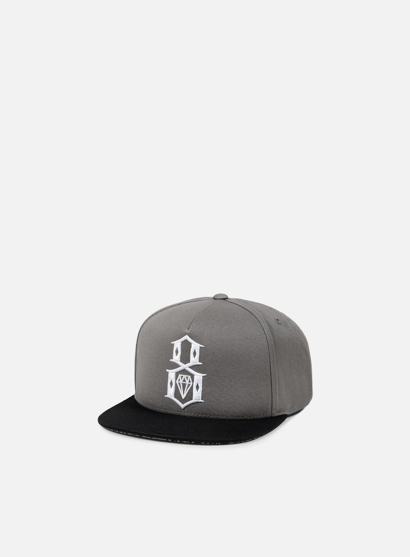 Rebel 8 - Logo Handstyle Snapback, Grey/Black