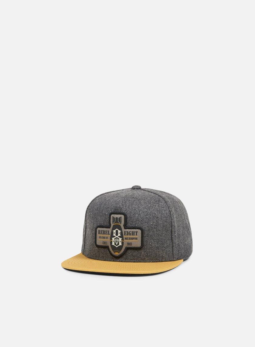Rebel 8 - Mass Disruption Snapback, Charcoal/Tan