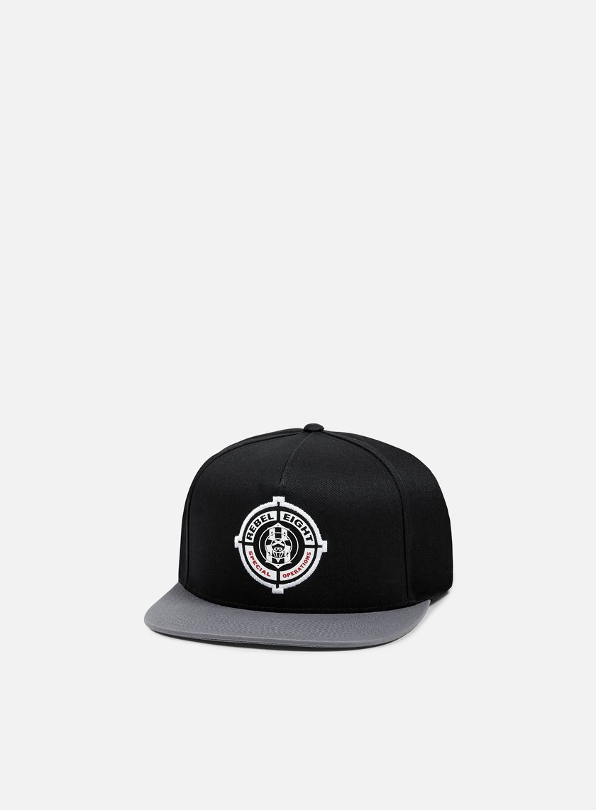 Rebel 8 - Special Operations Snapback, Black/Dark Grey
