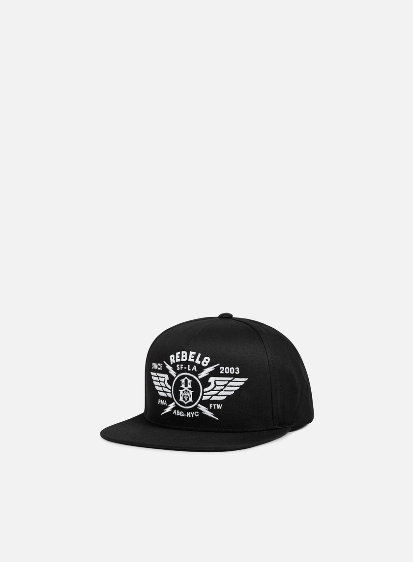 Rebel 8 - Strike Twice Snapback, Black