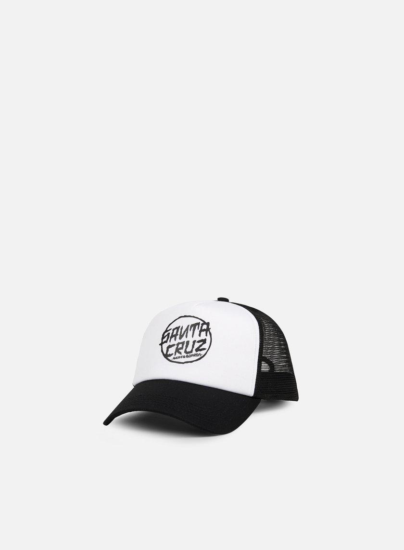 Santa Cruz - Dressen Dot Trucker Cap, Black/White