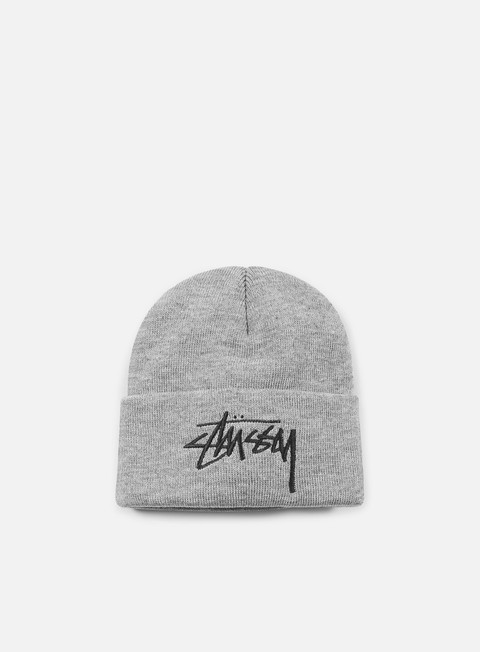 cappellini stussy stock cuff beanie grey heather