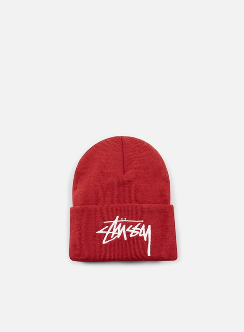 cappellini stussy stock cuff beanie red