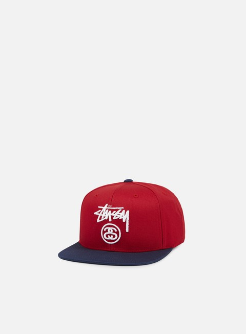 cappellini stussy stock lock snapback red navy