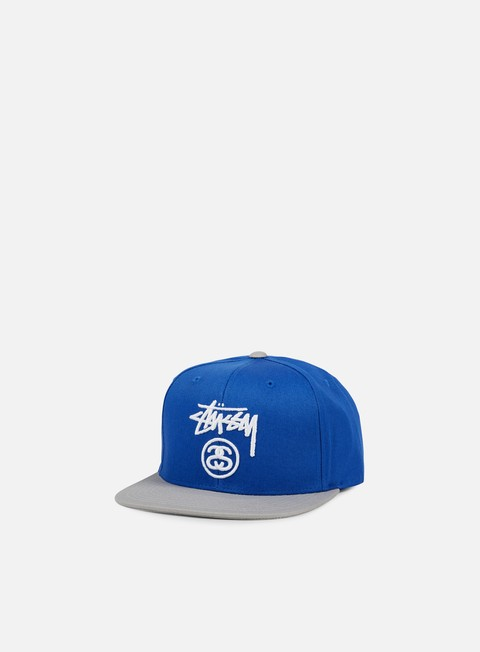 cappellini stussy stock lock snapback royal blue heather grey