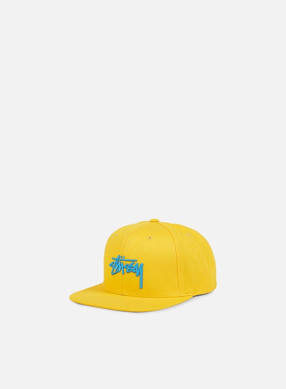 Stussy - Stock Snapback, Yellow/Light Blue