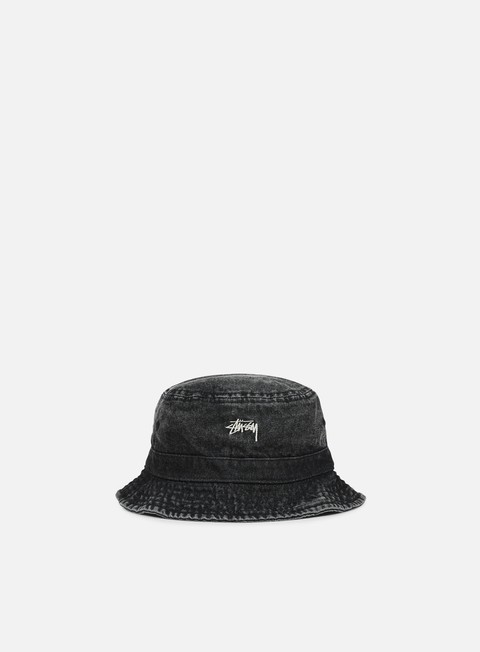 cappellini stussy washed denim bucket hat black