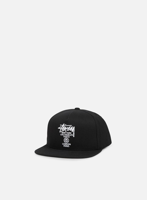 cappellini stussy world tour canvas snapback black
