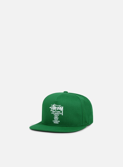 cappellini stussy world tour canvas snapback green