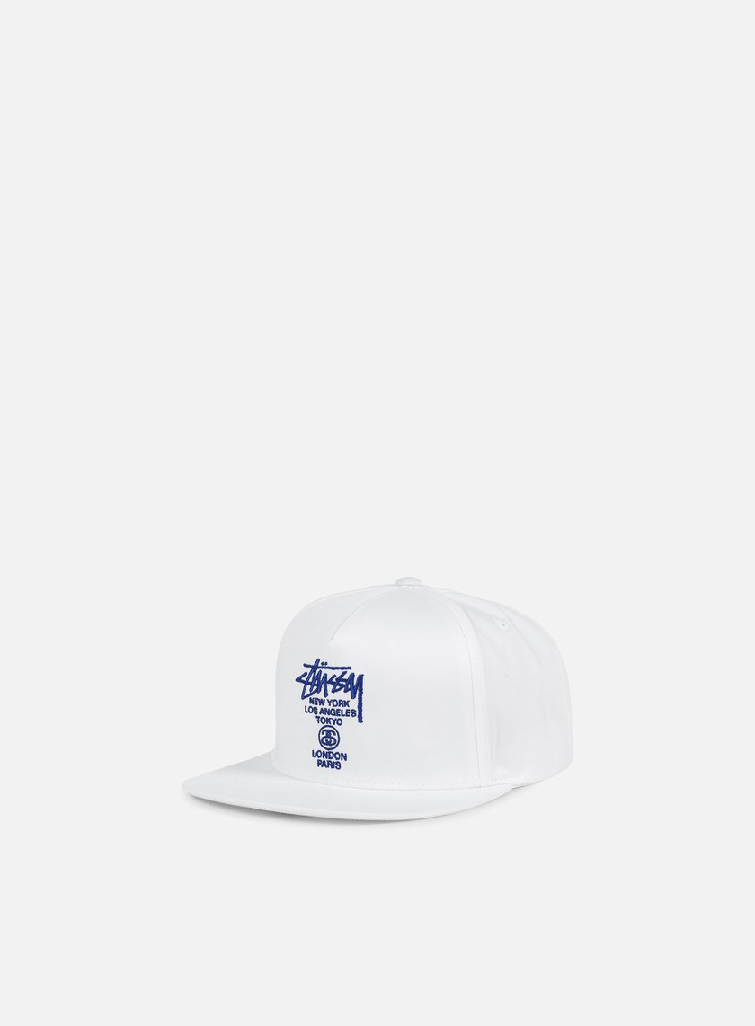 Stussy - World Tour Snapback, White/Royal Blue