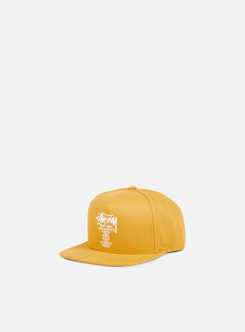 cappellini stussy world tour snapback yellow white