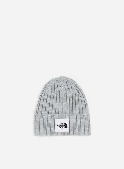 cappellini the north face tnf logo box cuffed beanie light grey heather