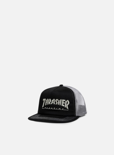 cappellini thrasher embroidered logo trucker cap black