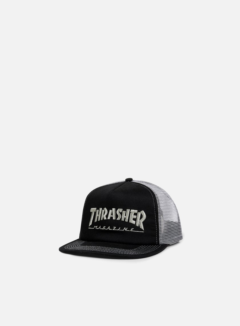 Thrasher - Embroidered Logo Trucker Cap, Black