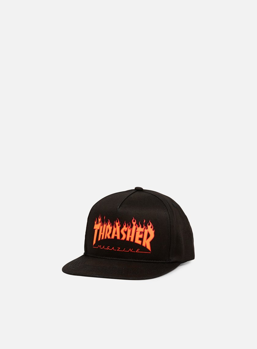 Thrasher - Flame Logo Structed Snapback, Black