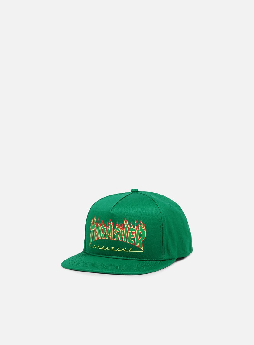 Thrasher - Flame Logo Structed Snapback, Green