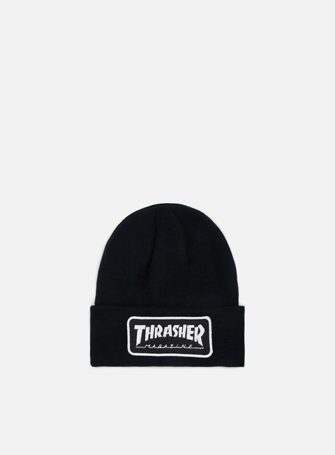 cappellini thrasher logo patch beanie black