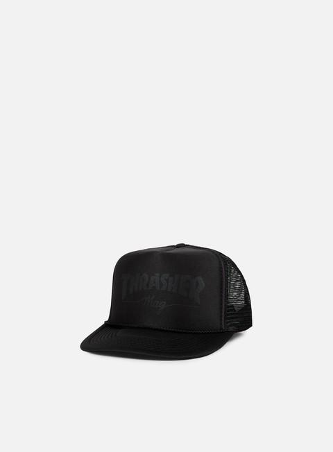 cappellini thrasher mag printed logo trucker cap black