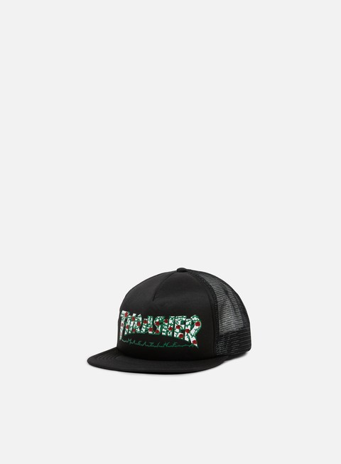 cappellini thrasher roses trucker cap black