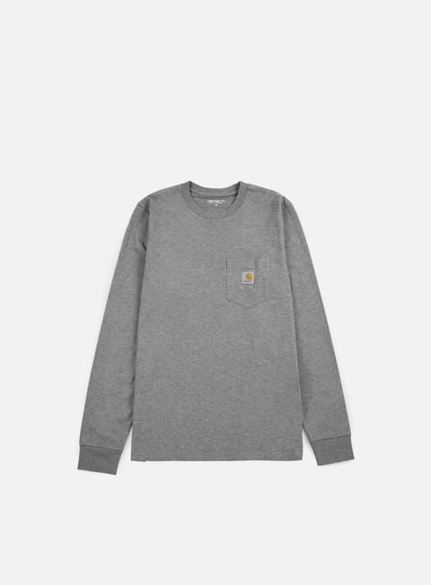 carhartt pocket ls t shirt dark grey heather