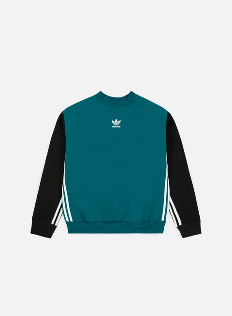 felpe adidas originals auth stripe crewneck real teal s18 black