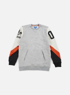 Adidas Originals - Basketball Crewneck, Medium Grey Heather/Talc/Collegiate Orange 1