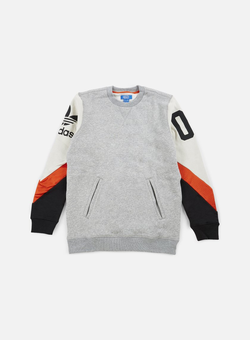 Adidas Originals - Basketball Crewneck, Medium Grey Heather/Talc/Collegiate Orange