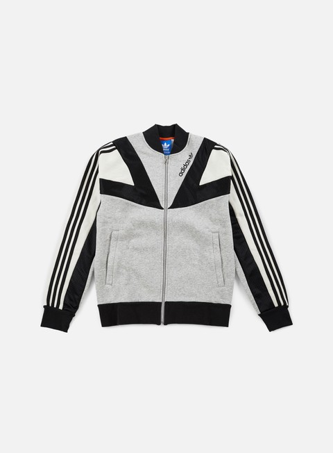 felpe adidas originals basketball track top medium grey heather talc black