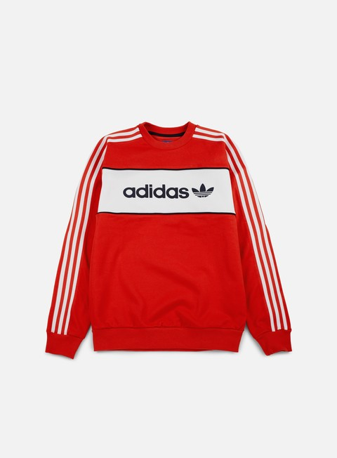 felpe adidas originals block crewneck coral red