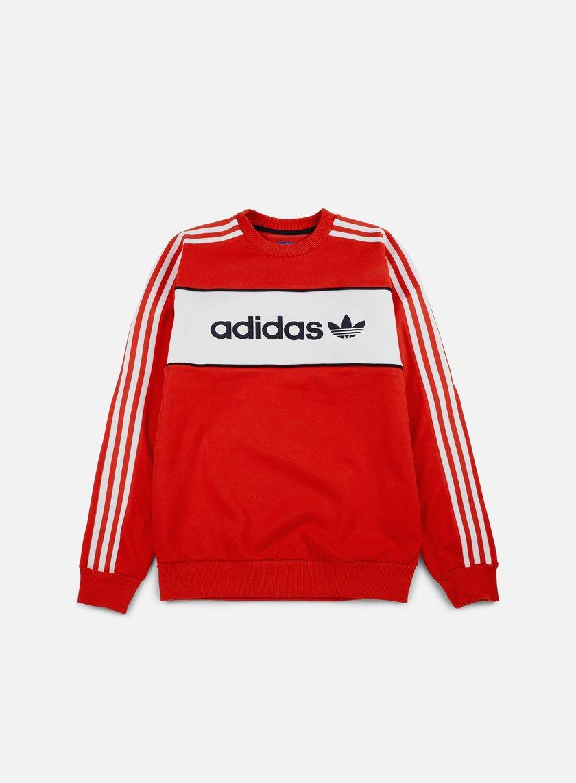 Adidas Originals - Block Crewneck, Coral Red