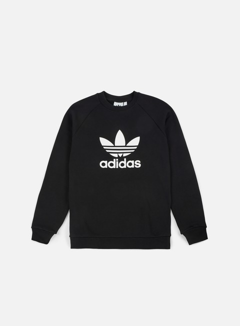 felpe adidas originals trefoil crewneck black white